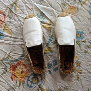Sam Edelman | white espadrille leather mules